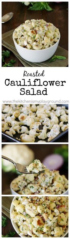 Roasted Cauliflower Salad ~ Step aside pasta salad & make room for Roasted Cauliflower Salad instead!  With perfectly-roasted cauliflower, feta, & fresh herbs, it will be your new summertime {or anytime} favorite.   www.thekitchenismyplayground.com  #ad @Frigidaire @Lowes