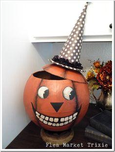 DIY Pumpkin Using a World Globe! Great instructions!