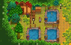 my fish pond area Stardew Farms, Stardew Valley Farms, Stardew Valley Layout, Stardew Valley Tips, Assassin's Creed Videos, Forest Map, Farm Layout, Animal Crossing Villagers, Small Ponds