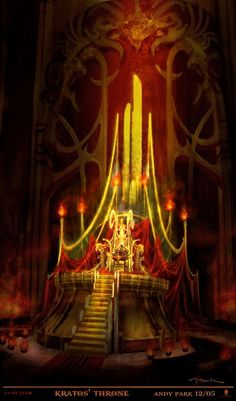View an image titled 'Kratos' Throne Art' in our God of War II art gallery featuring official character designs, concept art, and promo pictures. Dark Fantasy, Fantasy City, Fantasy Castle, Medieval Fantasy, Fantasy Rooms, God Of War, Arcade, Throne Room, Game Concept Art