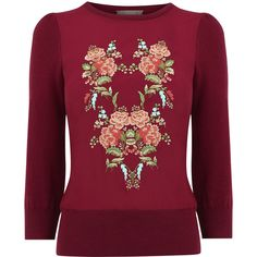 Embroidered flower knit (€47) via Polyvore featuring tops, puff sleeve top, red top, woven top, embroidered top en red knit top
