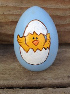 Handpainted easter egg just hatched chick by WendyPlank on Etsy