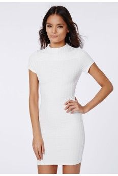 Trisha Textured High Neck Bodycon Dress Cream
