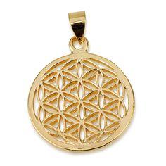 "Classic Flower of Life Pendant 14k Gold Plated Size 1.0"" Sacred Geometry Yoga #MAGAYA #Pendant"