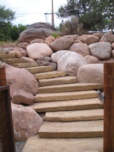 Steps And A Large Boulder Retaining Wall By Gardenhart Landscape U0026 Design  In Durango Colorado Landscaping