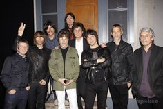 Chris Sharrock, Liam Gallagher, Joe Bithorn, David Leon, Joe Bologna, Joey Curatolo, Steve Landes, Gem Archer, Andy Bell and Mark Beyer Liam Gallagher and his band Beady Eye visit the cast of the musical 'Rain: A Tribute To The Beatles On Broadway'