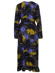94506b251043 Tmavosivé kvetované zavinovacie šaty Selected Femme Sonja