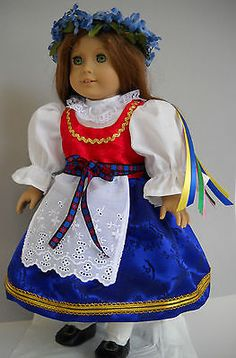 """Fits American Girl 18"""" doll clothes costume Czech kroj + wreath C (COSTUME ONLY)"""