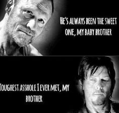 "You'd like my brother."" Merle chuckled. ""He's off in his head most of the time like you.""  ""You say it like its a bad thing."" She answered."
