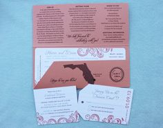 Coral,  Swirl & Palm Tree Boarding Pass Wedding Invitations