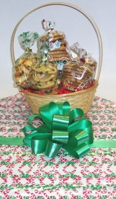 Scotts Cakes Small Nannys Christmas Surprise Cookie Basket with Handle Candy Cane Wrapping * Details can be found by clicking on the affiliate link Amazon.com.