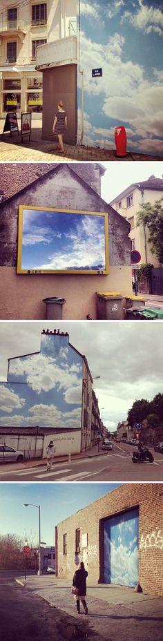 Cloud Project by Benjamin Løzninger, street art, head in the clouds, photography, France, Brooklyn