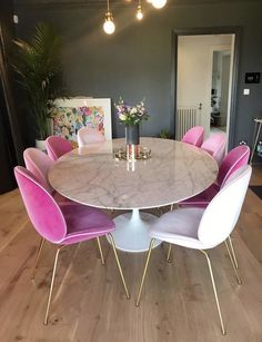 Ohhhhhhh love this. But not the pink chairs. Would probably go with an emerald green or like a navy blue. Dining Chairs, Dining Table, Dinning Chairs, Dining Chair, Diner Table, Dining Room Table