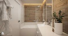 Naturalne drewno + biel = klasyka gatunku jako WERSJA 2 - Mała łazienka na poddaszu w bloku w domu jednorodzinnym bez okna, styl skandynawski - zdjęcie od ELEMENTY - homebook