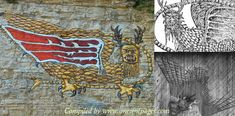Depictions of the mysterious giant Piasa bird can be found on a limestone bluff overlooking the Mississippi. Native American legends tell this creature existed long before the pale faces arrived on their lands. It was a bird described as one 'that devours men' in the Illini tongue.