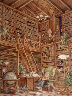 The Storyteller Mural Randal Spangler Murals Your Way is part of Library books - Painted by Randal Spangler, the The Storyteller wall mural from Murals Your Way will add a distinctive touch to any room Choose a preset size, or customize to your wall Beautiful Library, Dream Library, Library Books, Library Study Room, Bungalows, Murals Your Way, Home Libraries, Book Aesthetic, World Of Books