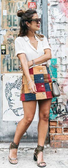 Patchwork trend + Sara Escudero + kooky mini skirt + button front skirt.  Skirt: Asos, Blouse: Old,Bag: Chloé, Sandals: Isabel Marant.