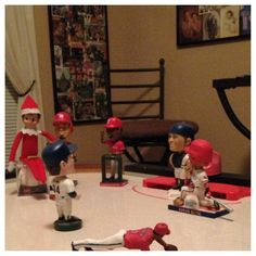 Elf on the shelf  Getting pointers during baseball practice