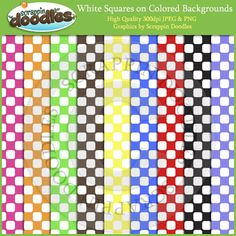 White Squares on Colored Backgrounds Download