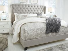 Queen Jerary Winged Upholstered Bed Gray - Signature Design by Ashley Bedding Master Bedroom, Grey Bedding, Bedroom Retreat, Glam Bedroom, Master Bedrooms, Bedroom Decor, Light Gray Bedroom, Queen Bedding, Pretty Bedroom