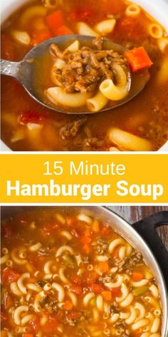 Easy Hamburger Soup with Macaroni is a hearty soup recipe that takes just fifteen minutes from start to finish.This delicious soup is loaded with ground beef, diced tomatoes, mixed vegetables and macaroni noodles. recipes with ground beef Hamburger Soup With Noodles, Hamburger Macaroni Soup, Soup With Ground Beef, Hamburger Stew, Recipes With Macaroni Noodles, Easy Hamburger Meals, Supper Ideas With Hamburger, Ground Turkey Soup, Macaroni Recipes