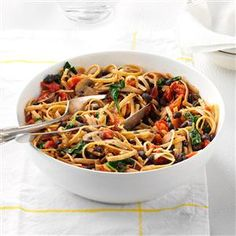 Vegetarian Black Bean Pasta Recipe -This was something I created as a teenager, back when I was a vegetarian. Now that my daughter doesn't eat meat, she asks for this dinner several times a week. —Ashlynn Azar, Beaverton, Oregon