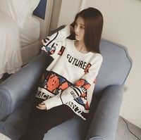 Wish | 2015 autumn and winter Korean version the hit color loose alphanumeric pattern pullover sweater