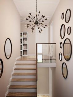 16 Best Staircase Wall Decor Ideas to Make Your Hallway Look Amazing- Stairways are one of the greatest spots in a home to hang the art. For many homeowners, the ability to beautify the round staircase wall decor can be exciting! Staircase Wall Decor, Stairway Decorating, Stair Decor, Modern Staircase, Hallway Wall Decor, Staircase Ideas, Diy Wall, Home Stairs Design, House Stairs