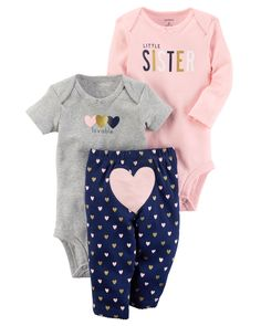 Featuring a cute little heart on the bottom and two coordinating bodysuits, this babysoft cotton set lets her mix and match with essential pants.
