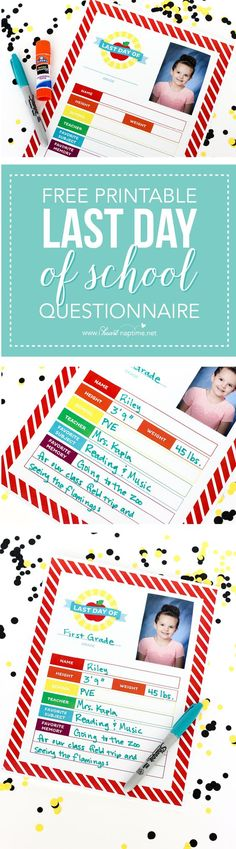 This keepsake Last Day of School Questionnaire is a fun way to end the school year! Just print nd have your child fill it out! End Of School Year, School Fun, School Days, Teacher Appreciation Gifts, Teacher Gifts, School Memories, School Pictures, School Parties, Lessons For Kids