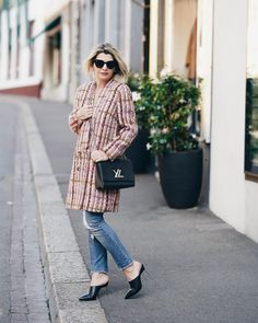 Tweed coat, jeans and mules | For more style inspiration visit 40plusstyle.com