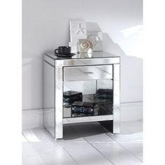 Romano Mirrored Bedside & Shelf