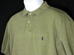 POLO RALPH LAUREN Mens Olive Short Sleeve Golf Rugby Shirt, Size L Large EUC…