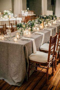 Ideas for wedding table cloths grey tablecloths Grey Tablecloths, Wedding Tablecloths, Wedding Table Linens, Wedding Table Settings, Wedding Chairs, Wedding Tables, Place Settings, Wedding Table Layouts, Wedding Decorations