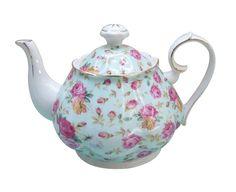 Gracie China Rose Chintz Porcelain 4-1/2-Cup Teapot Blue Cottage Rose #GracieChinabyCoastlineImports