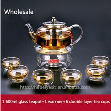 1 SS filter glass teapot with warmer with 6 double layer tea cups set wholesale