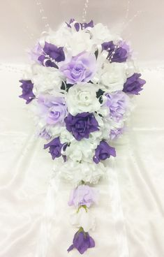 purple rose silk wedding boquet | Bridal Mix White, Lilac & Purple Open Roses Large Teardrop Bouquet