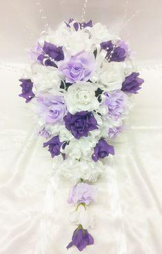 purple rose silk wedding boquet   Bridal Mix White, Lilac & Purple Open Roses Large Teardrop Bouquet