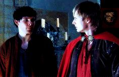 "(GIF.) When Merlin was first made Arthur's servant and their faces just make me think of Wicked: ""Loathing!"""