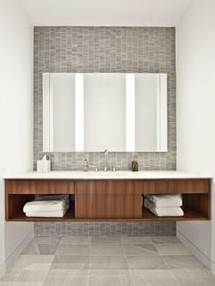 Change Room finishes - locker woodgrain colour, white vanity, add grey tile behind back lit mirrors.