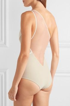 La Perla - Diagonal Touch One-shoulder Paneled Metallic Jersey And Mesh Swimsuit - Ivory - IT 4