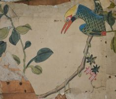 Part of a bird on the Chinese wallpaper recently discovered in the 4th Duke's bedroom at Woburn Abbey. ©Woburn Abbey.  From Treasure Hunt blog.  It seems the paper was first printed with outlines and then hand painted.