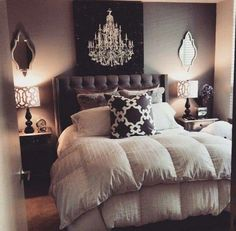 Gray black neutral color palette for a guest bedroom. Love the different patterns and textures