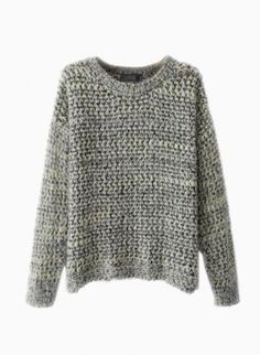 Gray Fluffy Multi Color Knit Sweater