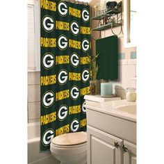 Green Bay Packers Fabric Shower Curtain..   For the boys bathroom