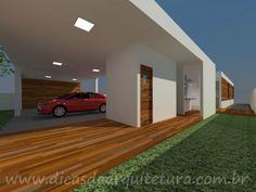 Garagem que pode virar salão de festas. http://dicasdearquitetura.com.br/projeto-de-casa-terrea-no-terreno-em-aclive/