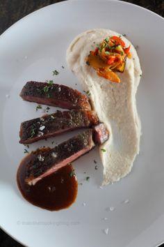 Sous Vide Rib Eye Steak : Madeira BBQ Sauce : Navy bean puree : Ratatouille