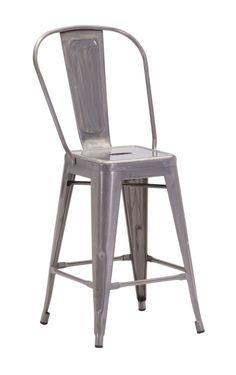 Zuo Modern Elio Counter Chair Gunmetal (Set of 2)