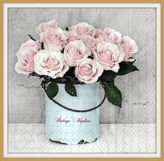 SALE *** 2 PAPER NAPKINS for Decoupage - Sagen Vintage Bucket with Rose Bouquet S021 by VintageNapkins on Etsy