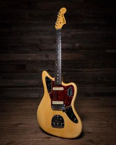 1964 Fender Jaguar in a very faded Olympic white. Bass Guitar Straps, Fender Bass Guitar, Fender Guitars, Guitar Pedals, Acoustic Guitar, Bass Guitar Lessons, Guitar Tips, Fender Jaguar, Cool Electric Guitars
